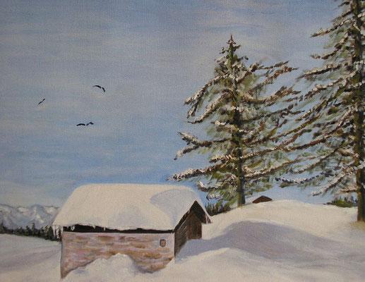 Paysage sous la neige  - 22x19