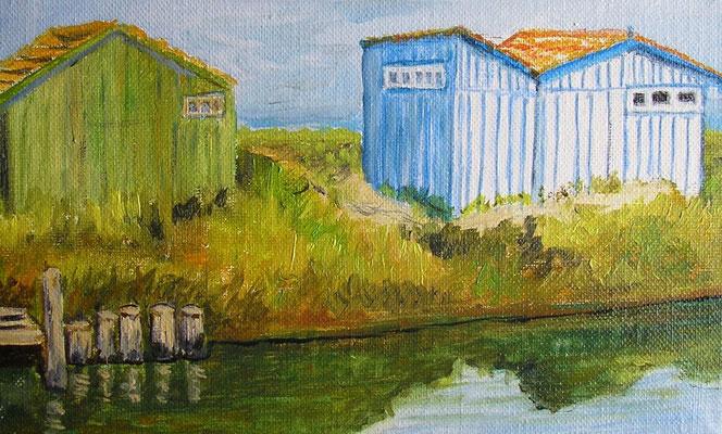 baraques de pêcheurs à Oléron - 22x14