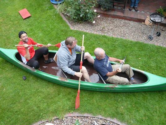 Die ersten Übungen im Boot, ...