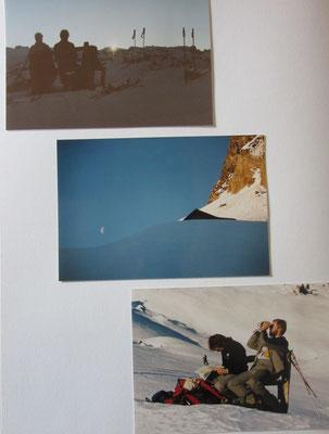 Hans + Markus geniessen die ersten Sonnenstrahlen - Die Gigenalp ist tief eingeschneit - Ein unvergesslicher Znüniplatz mit Holzbänkli