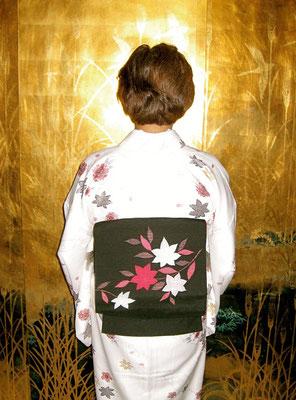 小紋 紬楓模様一重太鼓