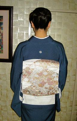 主宰 水谷雅由 一つ紋付き 金襴紗袋帯