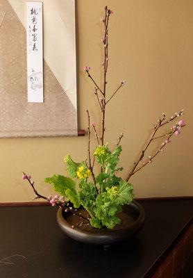 水谷雅由 桃 菜の花