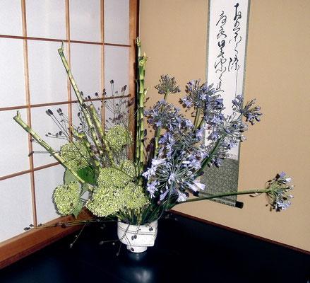 バンブー アカパンサス 紫陽花 ワレモコウ