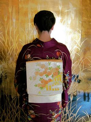 付け下げ 相良刺繍菊帯