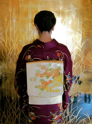 主宰 水谷雅由 付け下げ 相良刺繍菊帯