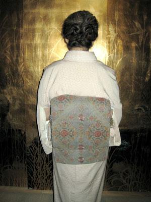 前田慶子 小紋 刺繍袋帯