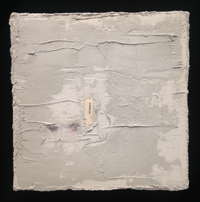 """""""Opinion"""" cement and newspaper on canvas, 2017"""