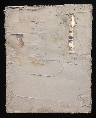 """""""Not What I Remember"""" cement and newspaper on board, 2017"""