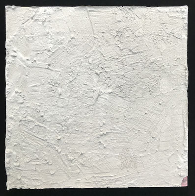 """""""I'm right here"""" cement and paper on board, 2017"""