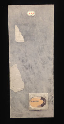 """""""Self-evident"""" cement and newspaper on board, 2017"""