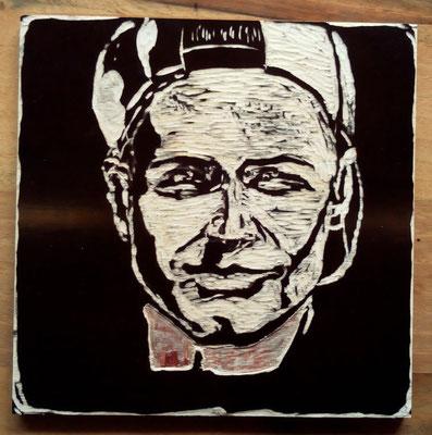 "Maruska Mazza, ""Jonathan"", carving on the wood, 20x20 cm"