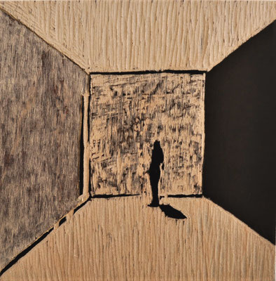 """Maruska Mazza, diptych """"The Room"""", carving on the wood, 20x20 cm"""