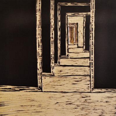 "Maruska Mazza,  diptych ""The 7 doors"", carving on the wood, 20x20 cm"