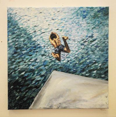 """Maruska Mazza, """"Il tuffo"""", 2014, oil on canvas, 50 x 50 cm"""