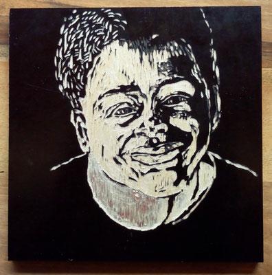 "Maruska Mazza, ""Raphael"", carving on the wood, 20x20 cm"
