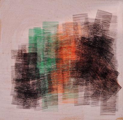 """Maruska Mazza, """"composizione multicolore"""", pen on the wood, 25X25 cm"""