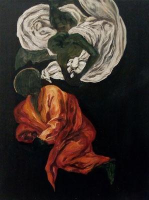 "Masurka Mazza, serie Full-Empty, "" S. Matteo e l' angelo"", 2018 oil on wood, 20 X 35 X 1 cm"