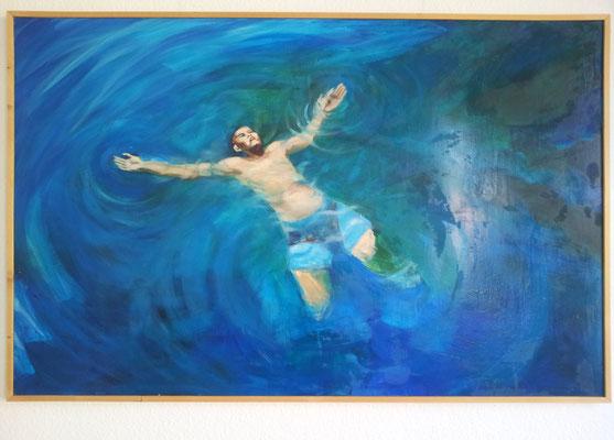 "Maruska Mazza, ""Galleggiando"", 2015, oil on wood, 190 x 120 cm"
