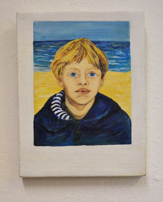 "Maruska Mazza, "" Joan"" 2020, Oil painting on wood, 16x10x1 cm"