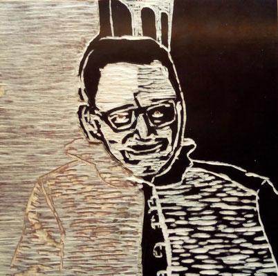 """Maruska Mazza, """"Christian"""", carving on the wood, 20x20 cm"""