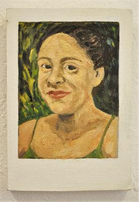 "Maruska Mazza, "" Doreen"" 2019, Oil painting on wood, 16x10x1 cm"