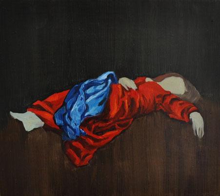 """Masurka Mazza, serie Full-Empty, """" La morte di Maria"""", 2018 oil on wood, 20 X 30 X 1 cm"""