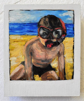 "Maruska Mazza, "" Jonathan"" 2015, Oil painting on wood, 12x10x1 cm"