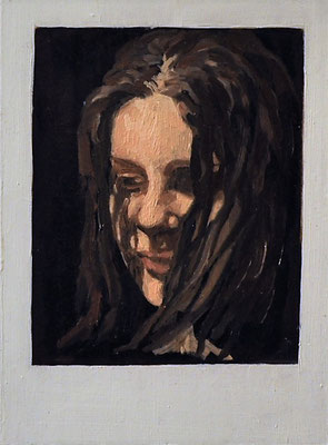 "Maruska Mazza, ""Self portrait"" 2016, Oil painting on wood, 13,50x10x1 cm"