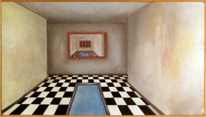 """Maruska Mazza, """" Stanza con specchio """" 1998, Oil painting on canvas, 50x80 cm"""