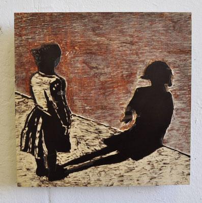 "Maruska Mazza, ""The shadow"", carving on the wood, 20x20 cm"