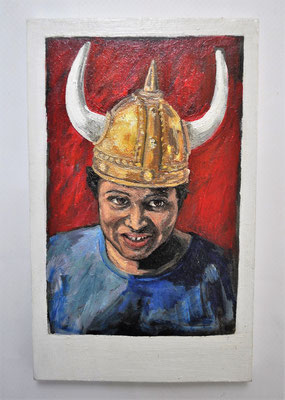 "Maruska Mazza, "" African viking"" 2015, Oil painting on wood, 16x10x1 cm"