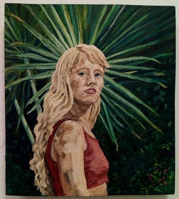 "Masurka Mazza, serie Human & Nature, "" Alice im Garten"", 2018 oil on wood, 20 X 35 X 1 cm"