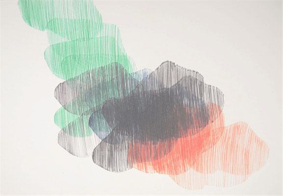 """Maruska Mazza, """"composizione multicolore"""", pen on paper, 25X25 cm"""
