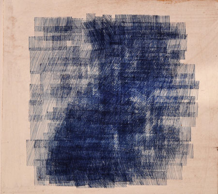 "Maruska Mazza, ""composizione in blù"", pen on the wood, 25X25 cm"