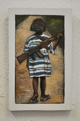 "Maruska Mazza, "" little soldat"" 2018, Oil painting on wood, 16x10x1 cm"