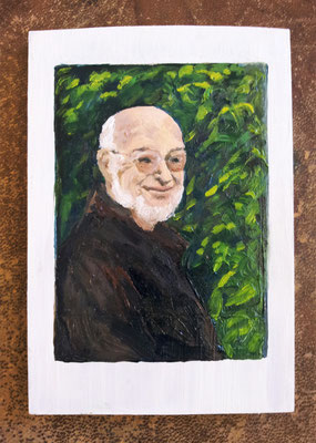 """Maruska Mazza, """" Florian"""" 2015, Oil painting on wood, 16x10x1 cm"""