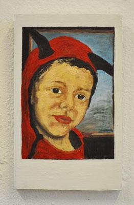 "Maruska Mazza, "" Raphael"" 2018, Oil painting on wood, 16x10x1 cm"