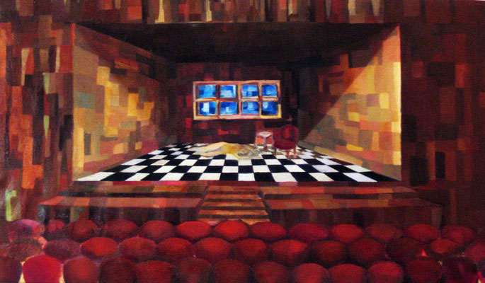 "Maruska Mazza, ""The theater"", 1996 oil on canvas, 60x90 cm"
