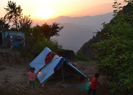 Nepal Earthquake Support by BE YOGI Beate Laudien - children playing around their new temporary home