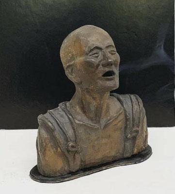 中川碧 H19×W17×D8cm 『空也上人像香炉』 ブロンズ、鋳造