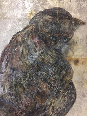 岡田祐佳 (日本画)F6号 『春の霞』 墨、胡粉、岩絵具、銀箔