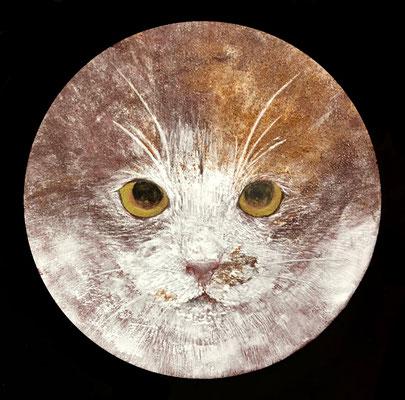 岡田祐佳 高知麻紙・胡粉・岩絵具・金泥 直径13cm 厚さ1cm 『猫の肖像』