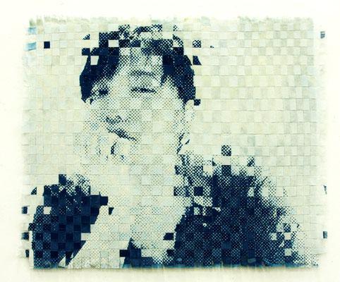 石井淳 藍・抜染・綿 W80.3×H65.1×D3.0cm 『GIRLS』