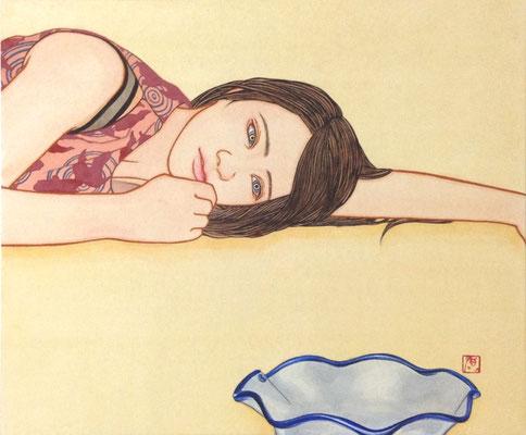 川村敏博 (高地麻紙、岩絵具、水干)F8号 『遥か朱(あけ)の』