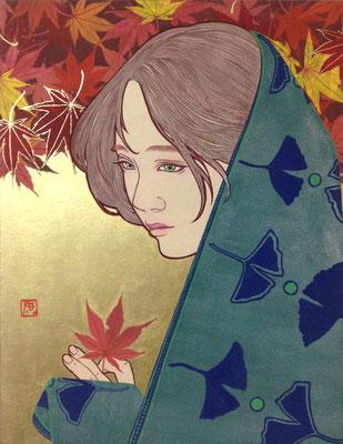 川村敏博 (日本画)F6号 『よそおい』 雲肌麻紙、岩絵具、金属泥、アクリル絵具