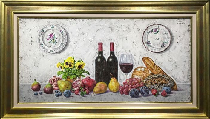 円池茂 48.0×98.5cm 『絵皿とワインの静物』