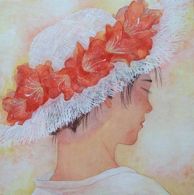 長谷川里香 和紙、水干絵具・S5号 『そよ風』