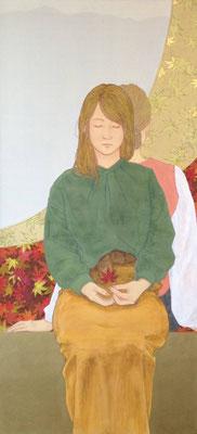 川村敏博 高知麻紙、岩絵具、水干絵具、アクリル絵具、金属泥 140×65cm 『秋、竜田にて。』