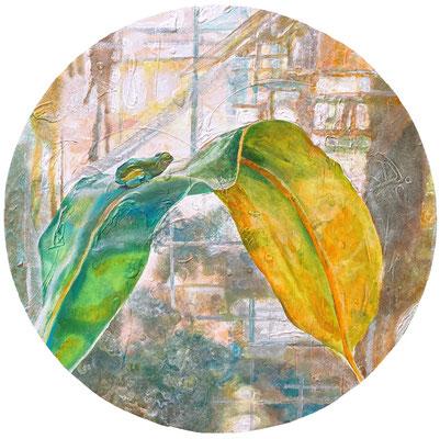 ちょふ キャンバス、アクリル・直径50cm 『きみの世界に私も生きられたらそれは素敵なことでしょう』